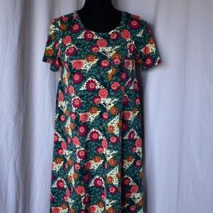 LuLaRoe Carly Dress / Green w/ Tulip Print